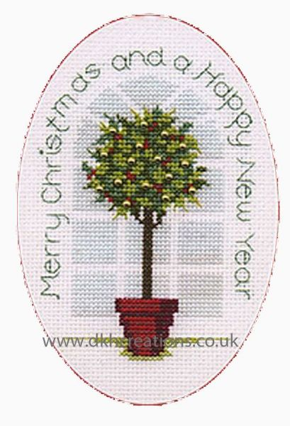 Holly Tree Christmas Card Cross Stitch Kit